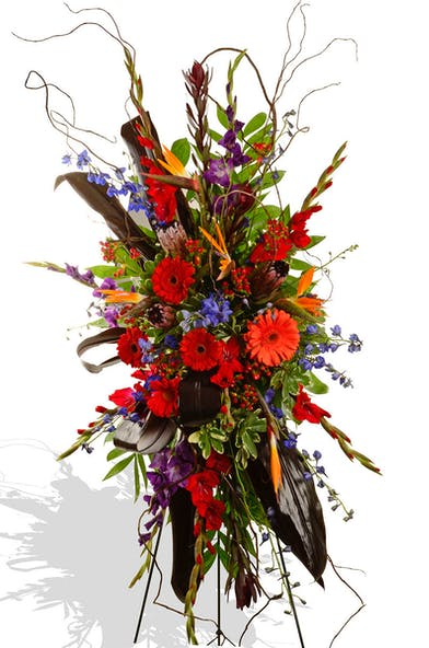 Vibrant Colors Assorted Flowers Standing Funeral Spray delivered Baton Rouge LA