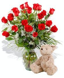 dozen roses plush bear delivered baton rouge LA