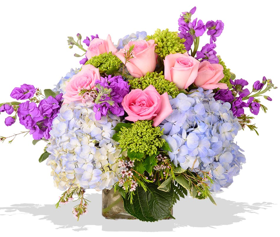 Peonies and hydrangea cube arrangement for mom delivered baton rouge LA