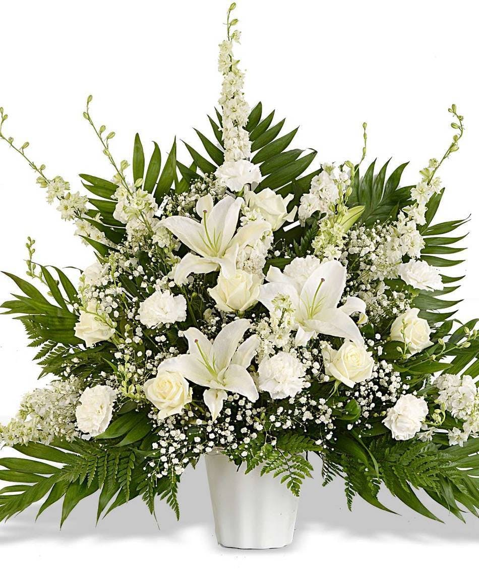 Basket Of All White Flowers For Funeral Delivered In Baton