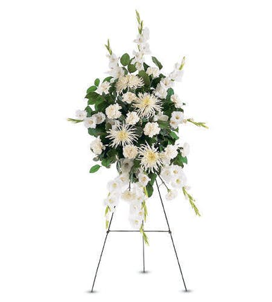 All white flowers with greenery standing funeral spray delivered in Baton Rouge LA
