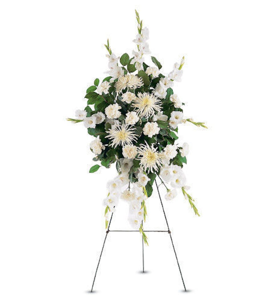 All white standing funeral spray delivered in baton rouge la all white flowers with greenery standing funeral spray delivered in baton rouge la mightylinksfo