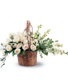 white mixed flowers sympathy basket baton rouge LA