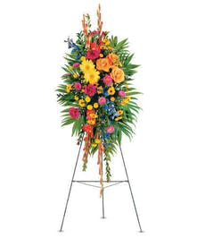 Colorful Mixed Standing Funeral Spray Arrangement delivered in Baton Rouge LA