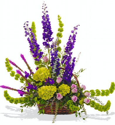 Bold spring sympathy basket delivered baton rouge LA