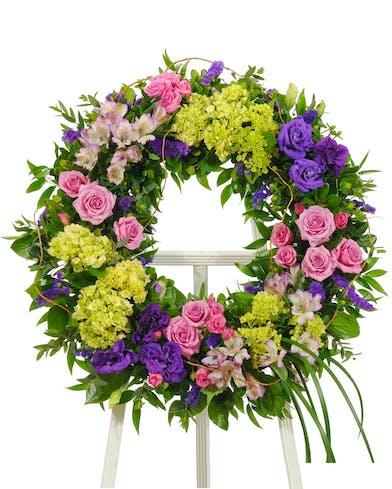 Bold spring sympathy wreath delivered baton rouge LA