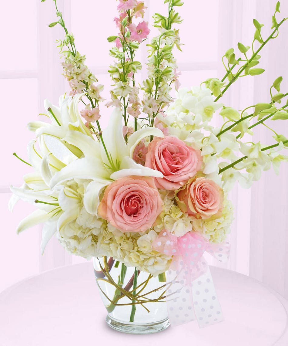 New baby flower delivery baton rouge la billy heromans florist pink and white flowers to welcome new baby girl delivered baton rouge la izmirmasajfo