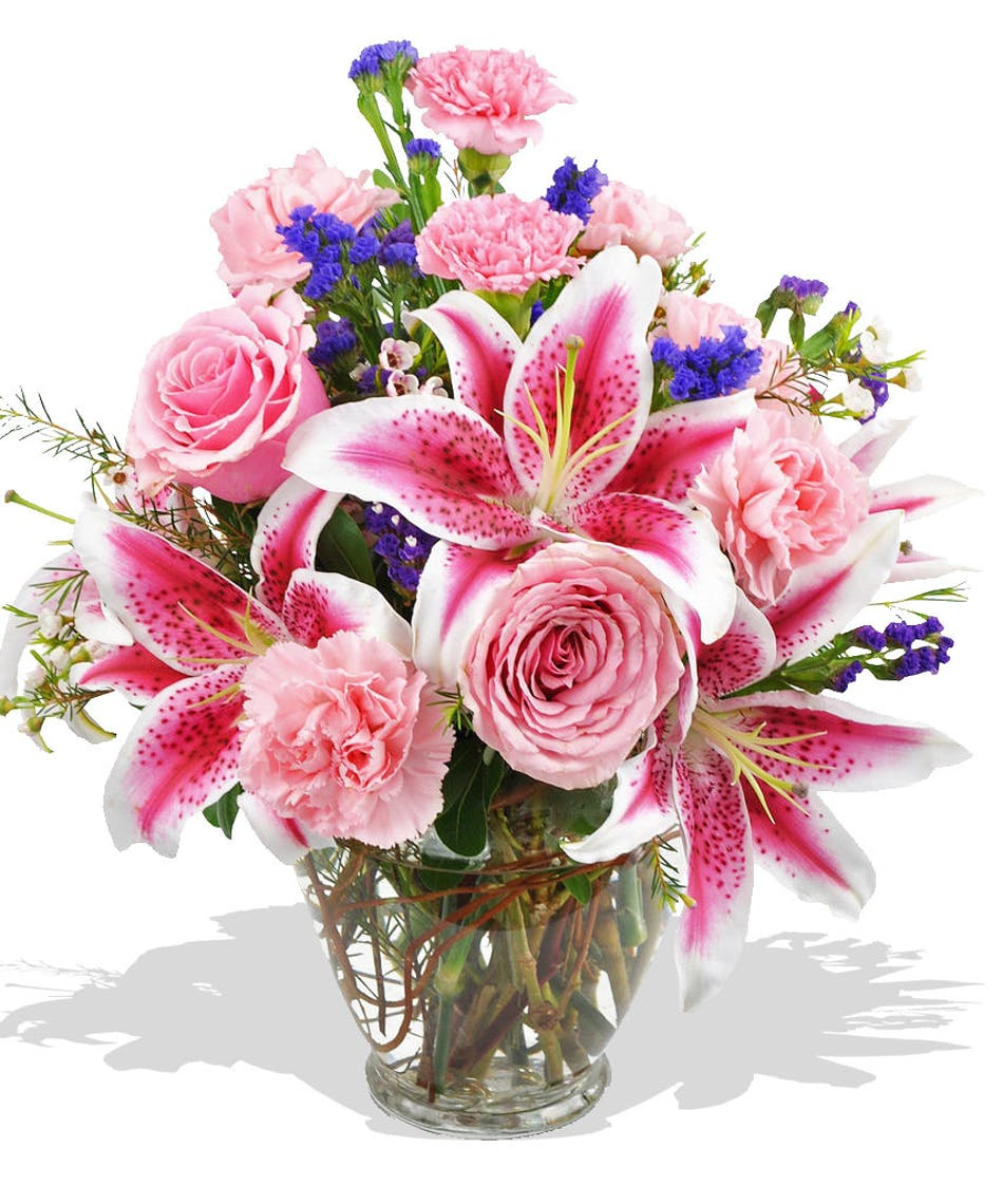 Pink lilies carnations statice wax flower delivered in baton rouge assorted pink flowers delivered to baton rouge la surrounding areas or nationwide mightylinksfo