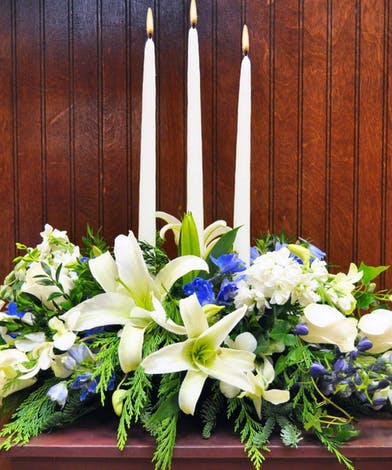 Oriental Lilies Delphinium Christmas Greenery Centerpiece delivered Baton Rouge LA