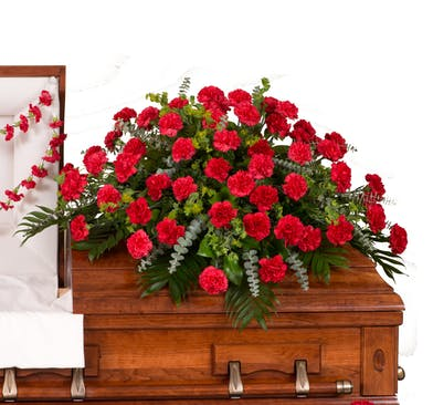 Classic Carnations casket cover delivered in Baton Rouge, LA.