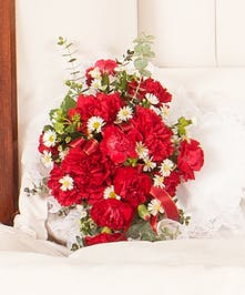 Classic Carnations pillow design delivered in Baton Rouge, LA.