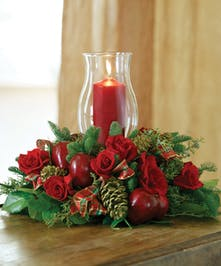 Traditional Christmas Table centerpiece with candle delivered in Baton Rouge LA
