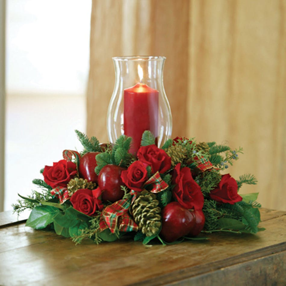 Traditional christmas candle centerpiece delivered in