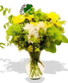 Luck of the Irish Mixed Green Yellow White Flowers Arrangement delivered baton rouge LA