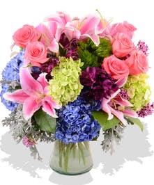 Roses, Lilies, Hydrangea, and Alstroemeria Mother's day arrangement delivered in Baton Rouge, LA