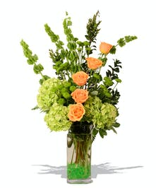 Green hydrangea, Bells  of Ireland & Roses  - Baton Rouge, LA Florist