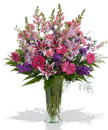Pink and Purple Sympathy Flowers Vased and Arranged in Baton Rouge LA
