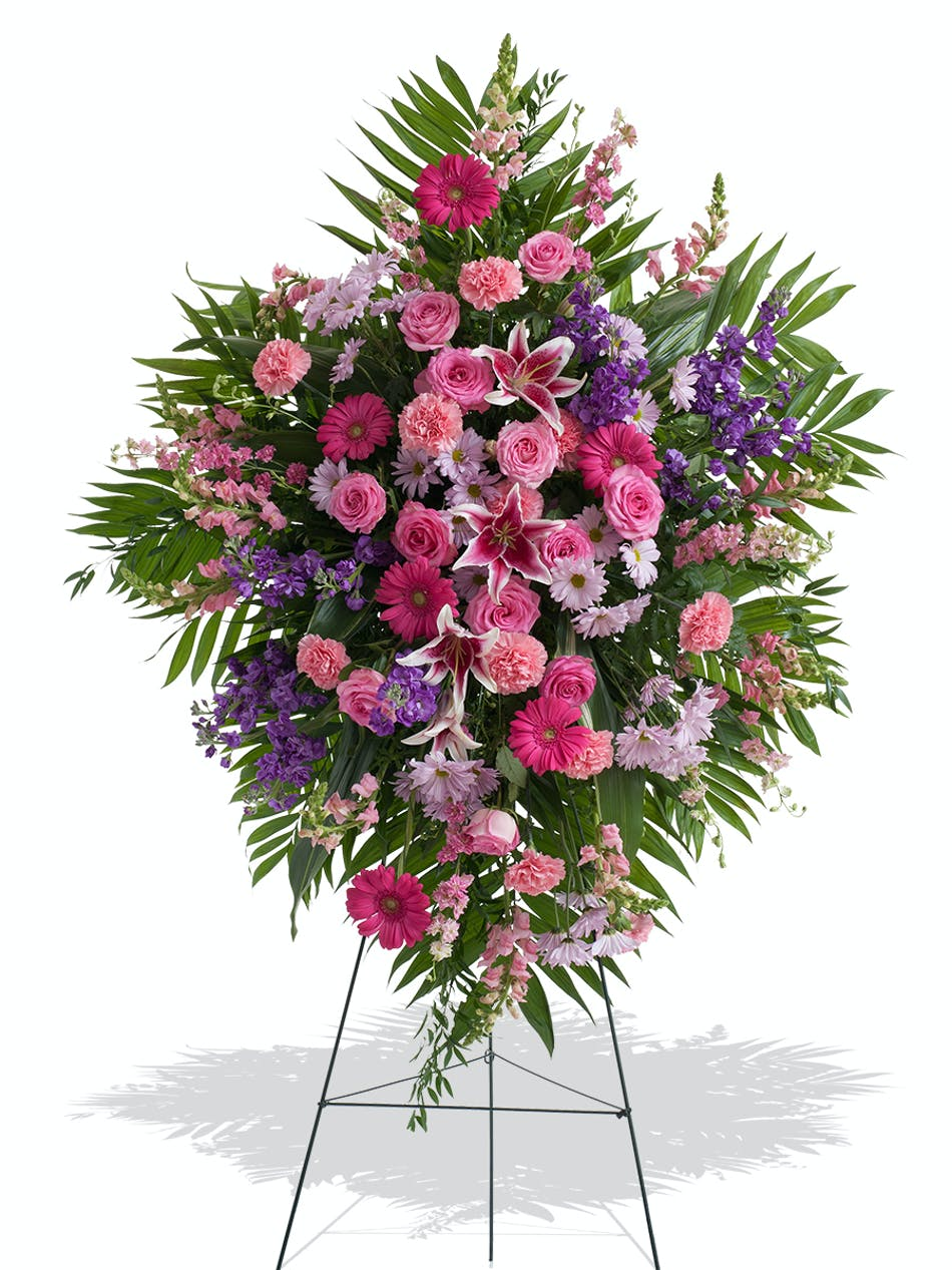 Traditional Standing Funeral Spray In Feminine Florals Delivered In