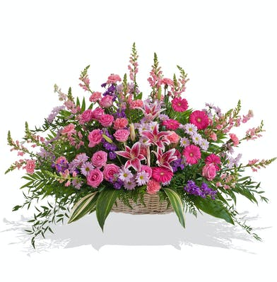Floor Basket in Feminine Pink and Purple florals for the service delivered baton rouge LA