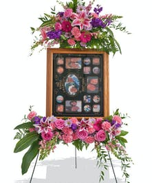 Feminine Floral Standing Picture Display Design for Funeral delivered baton rouge LA