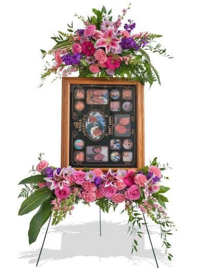 Feminine Floral Standing Picture Display Design for Funeral delivered baton rouge LA