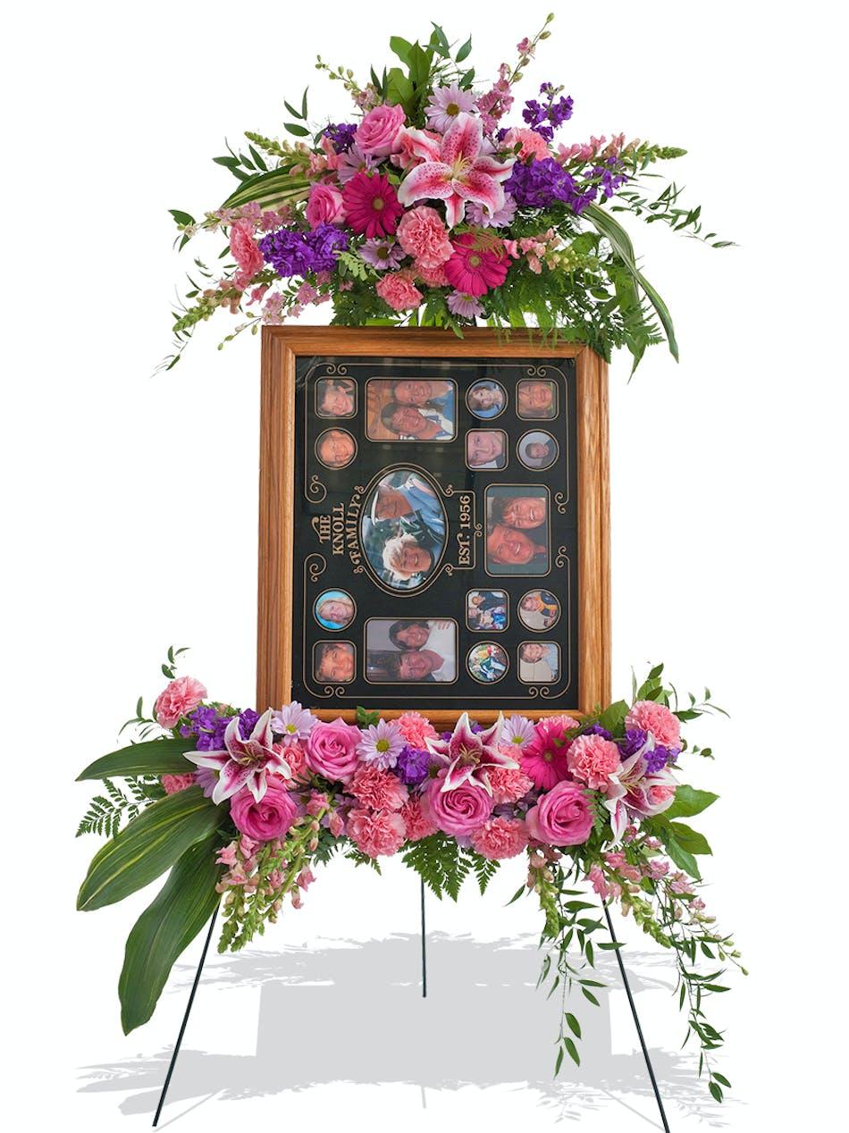 Feminine standing picture frame display design delivered in baton feminine floral standing picture display design for funeral delivered baton rouge la mightylinksfo