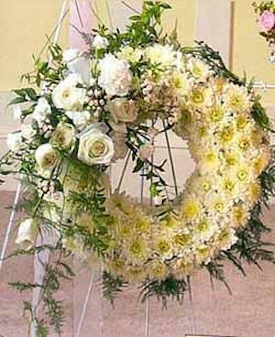 White poms roses sympathy wreath baton rouge la
