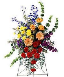 gerberas roses delphinium mixed funeral stand baton rouge la