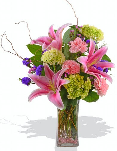 Fragrant pink oriental lilies mini green hydrangea pink carnations mixed mothers day arrangement in baton rouge LA