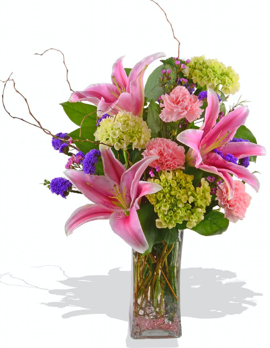 Fragrant lilies and hydrangea for mothers day delivered in baton fragrant pink oriental lilies mini green hydrangea pink carnations mixed mothers day arrangement in baton rouge mightylinksfo