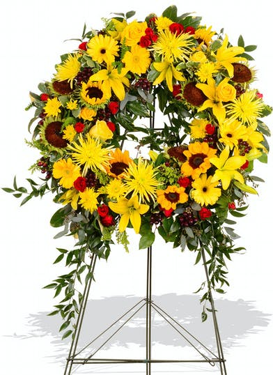 Standing Wreath made of summer Colors delivered baton rouge LA