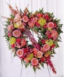pastel flowers standing heart funeral spray baton rouge LA