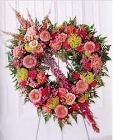 pastel flowers standing heart funeral spray baton rouge LA