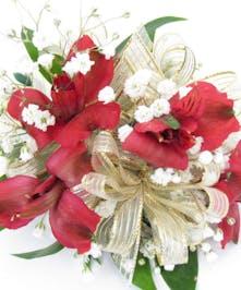 Alstroemeria Wristlet corsage with ribbon baton rouge la