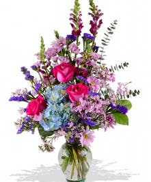 Mother's Day Tall Mixed Arrangement Roses Poms Snapdragons, hydrangea and fillers