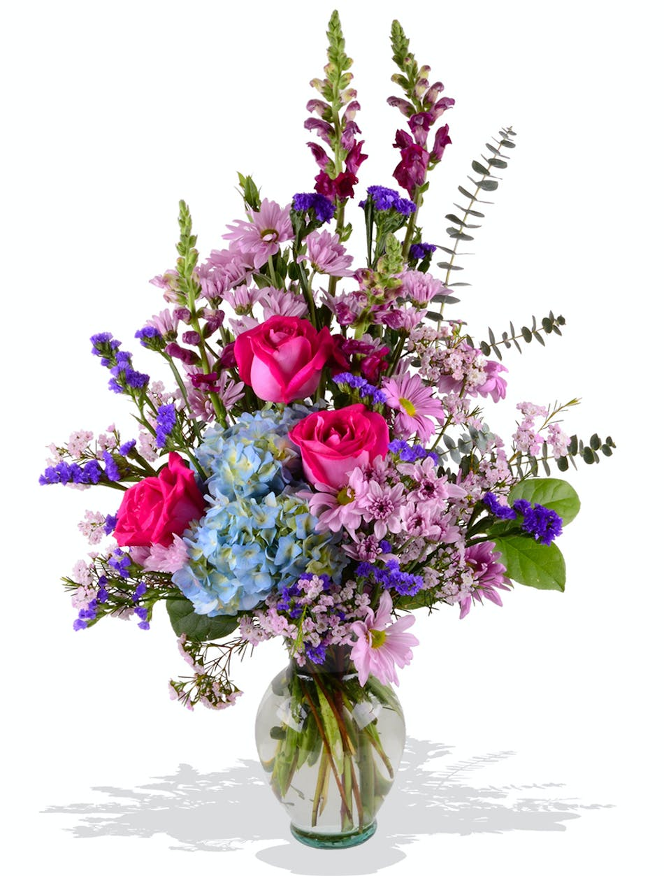 Its her day mixed mothers day bouquet delivered baton rouge la mothers day tall mixed arrangement roses poms snapdragons hydrangea and fillers izmirmasajfo