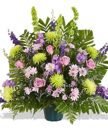 funeral basket with lavender flowers delivered baton rouge la