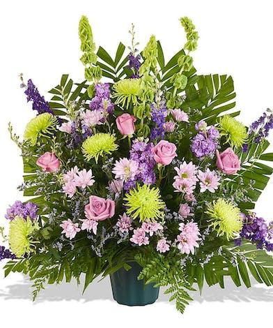 funeral basket with lavender flowers delivered baton rouge la
