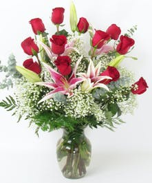 Super Two Dozen Medium Roses with Lilies delivered Baton Rouge LA