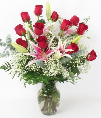 Super Two Dozen Medium Roses with Lilies delivered Baton Rouge LA