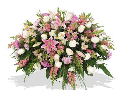 mixed pink flower casket cover baton rouge la