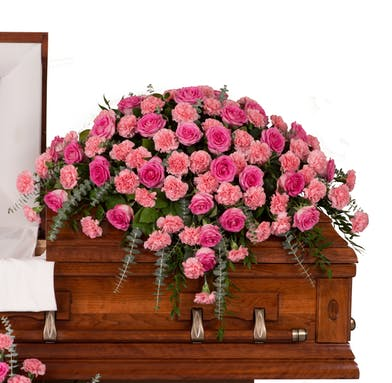Casket Cover made of Roses and Carnations colors of your choice delivered baton rouge LA