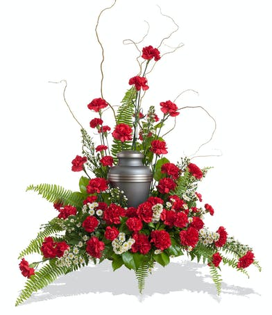 Classic Carnations cremation urn wreath delivered in Baton Rouge, LA.