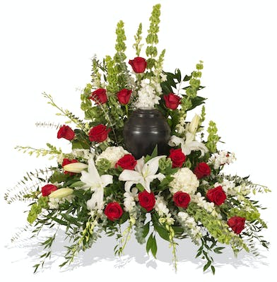 Red and White Tradition urn wreath delivered in Baton Rouge, LA.