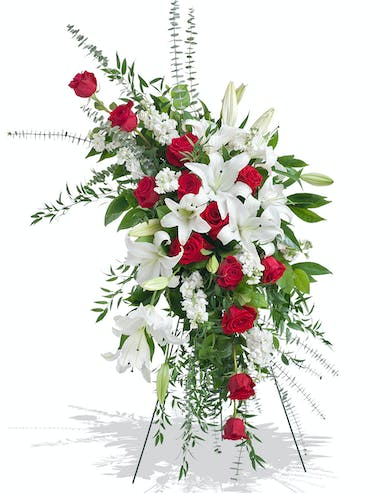 Red and White Tradition stand arrangement delivered in Baton Rouge, LA.