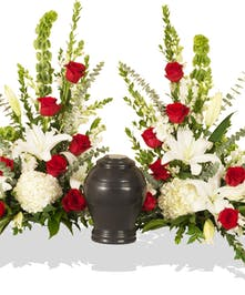 Red and White Tradition urn sidepiece delivered in Baton Rouge, LA.