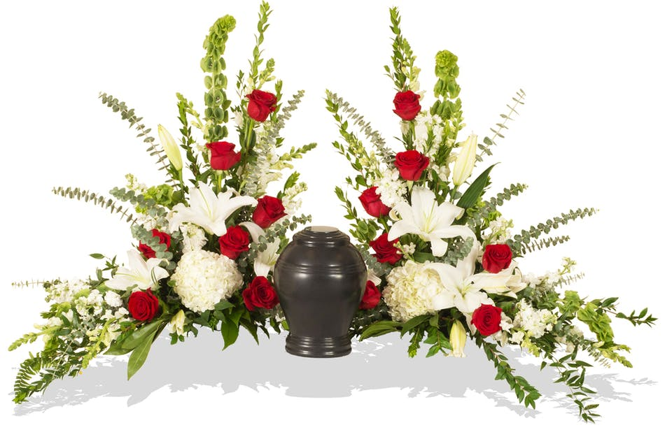Red and white tradition urn sidepiece delivered in baton rouge la red and white tradition urn sidepiece delivered in baton rouge la mightylinksfo