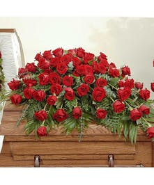 Reverent Roses casket cover delivered in Baton Rouge, LA.