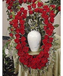 Reverent Roses cremation urn wreath delivered in Baton Rouge, LA.