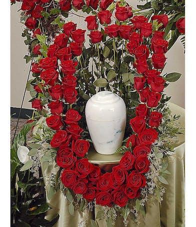 Reverent Roses cremation urn wreath delivered in Baton Rouge, LA.